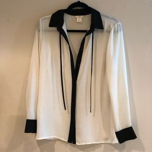 Tops - Like New White Blouse with Black Trim